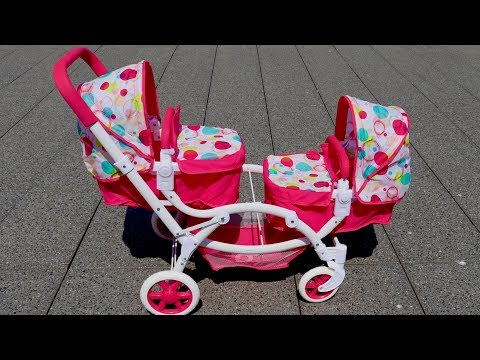 best-baby-doll-twin-stroller-double-pram-unboxing-set-up-pretend-play-with-baby-annabell