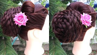 Most Beautiful Party Bun Hairstyle step by step tutorial || wedding hairstyles for long hair