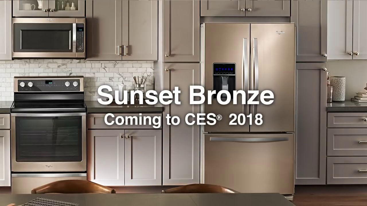 bronze kitchen appliances aid pasta maker whirlpool s newest sunset design at amundson home appliance center