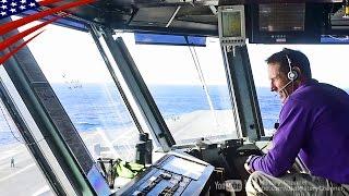 Air Boss & Sailors Pri-Fly Operations on Aircraft Carrier - 空母の管制塔(プリフライ)での艦載機の管制業務・エアボス