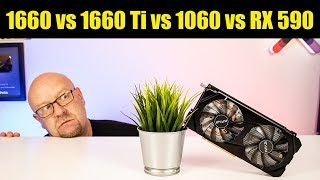 """KFA2 GTX 1660 """"1 click OC"""" vs GTX 1060 vs GTX 1660 Ti vs RX 590"""