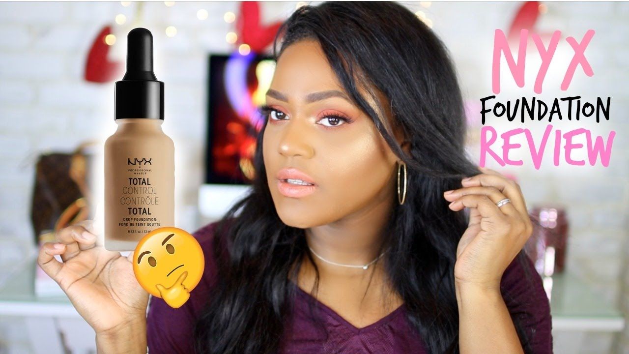 NEW NYX TOTAL CONTROL DROP FOUNDATION REVIEW | DARK SKIN | WOC