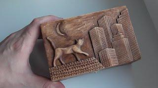 Резьба по дереву   Резная шкатулка ручной работы с котом на крыше, весь процесс изготовления .