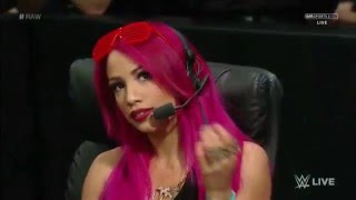 Sasha Banks flashes hot pants! (WWE Raw 02 08 2016) HD