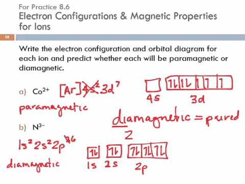 8.7 Ions: Electron Configurations, Magnetic Properties, Ionic Radii, & Ionization Energy