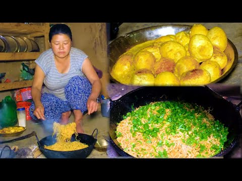 Cooking noodles with Egg on their style in village Nepal