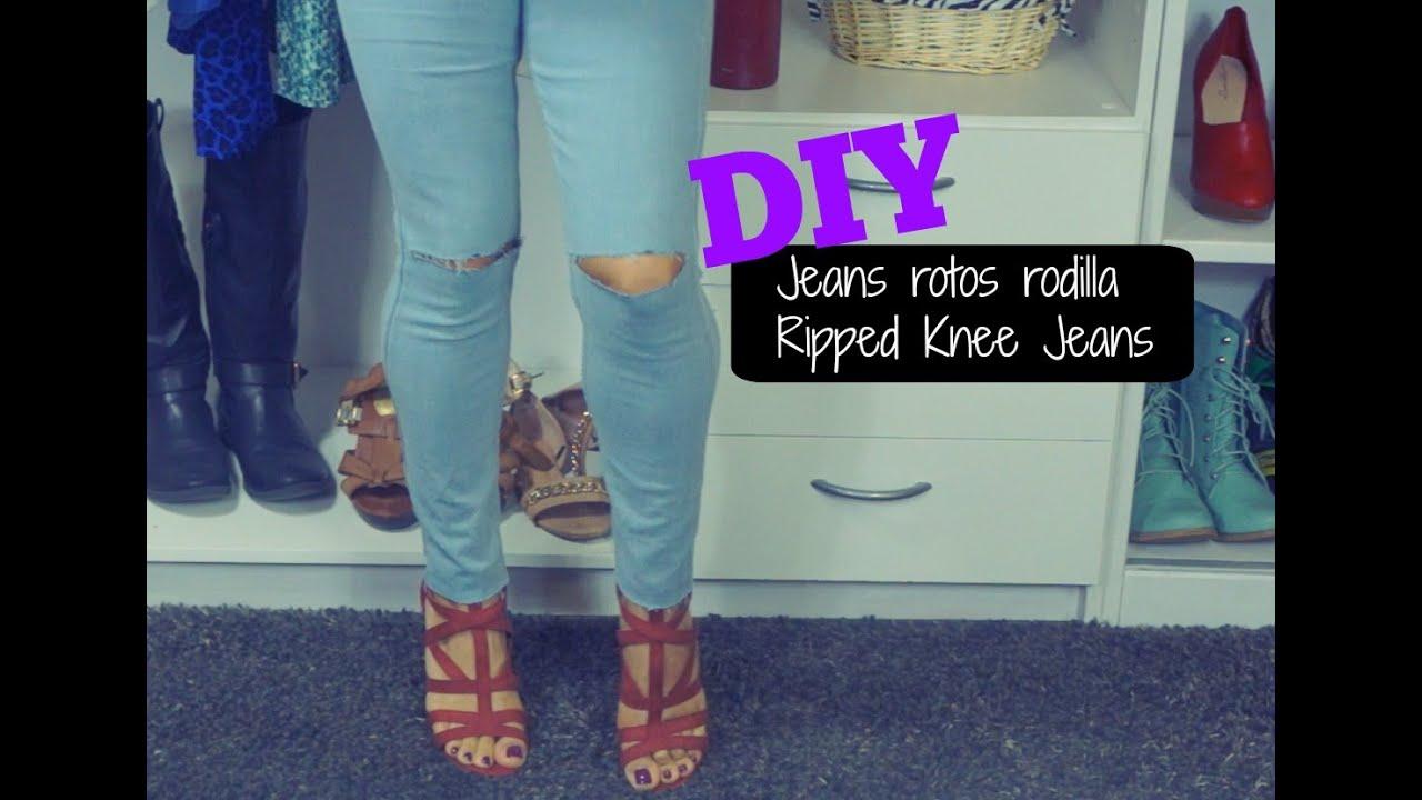 Diy Jeans Rotos En Las Rodillas Ripped Knee Jeans Youtube