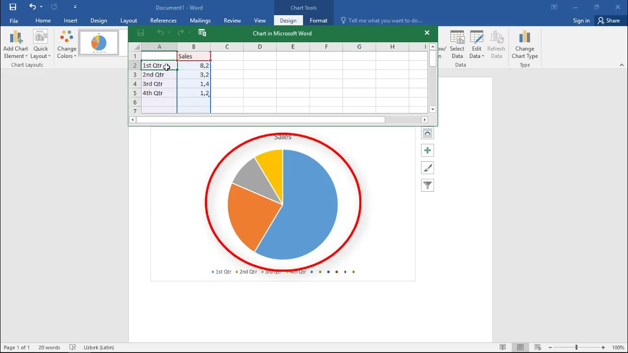 how to create a pie chart in word
