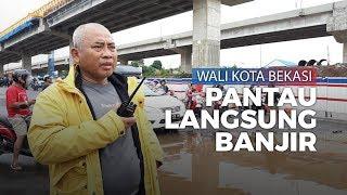 Wali Kota Bekasi Cek Langsung Banjir yang Lumpuhkan Kolong Tol JORR Kota Bintang Bekasi