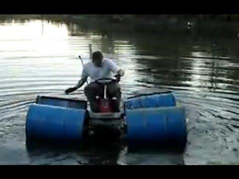 Redneck Jet Ski Lawnmower Drives On Water Youtube