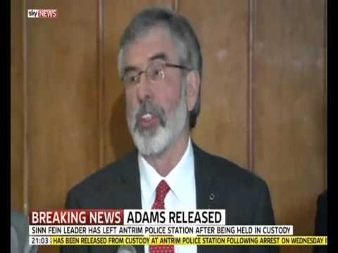 Sky News coverage of Gerry Adams release