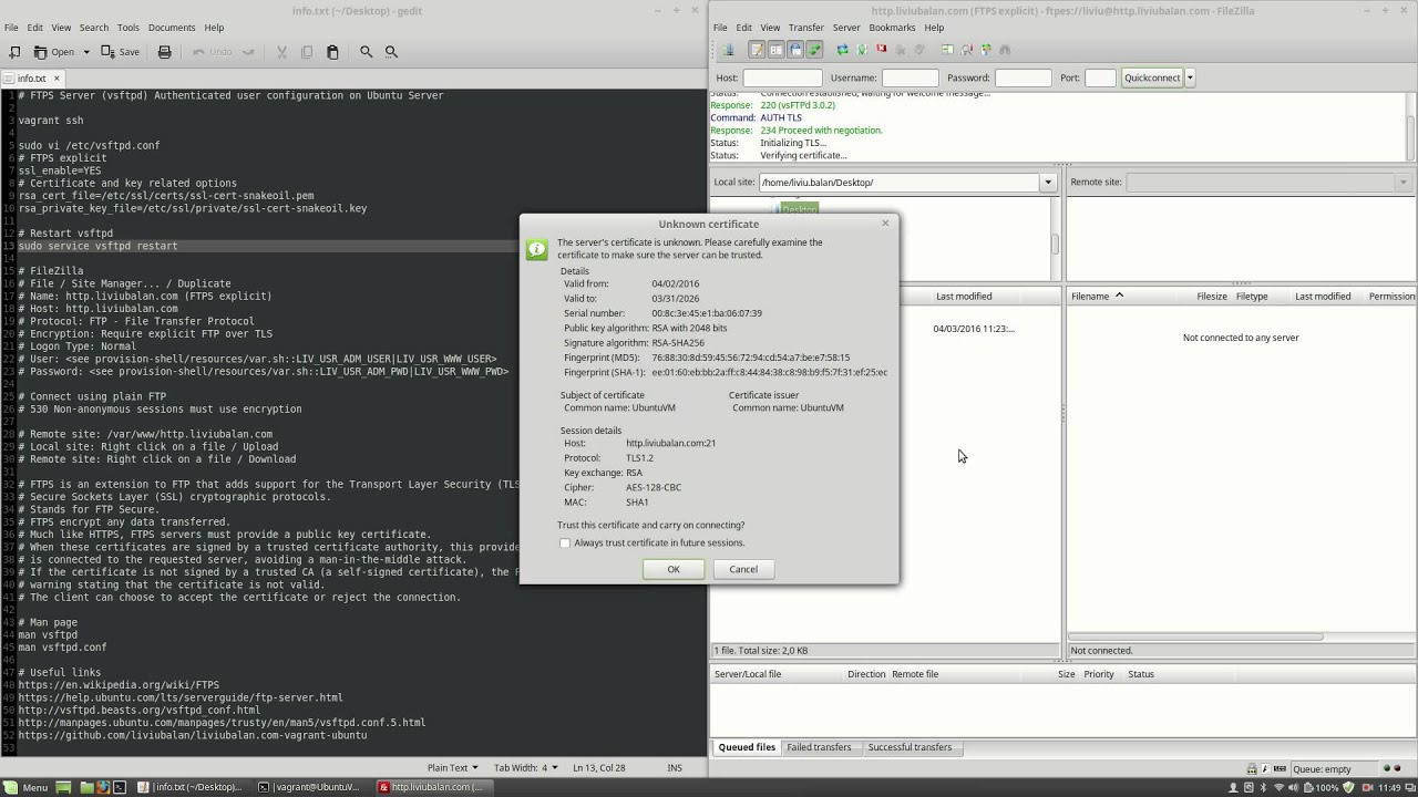 FTPS Server (vsftpd) Authenticated user configuration on Ubuntu Server #126