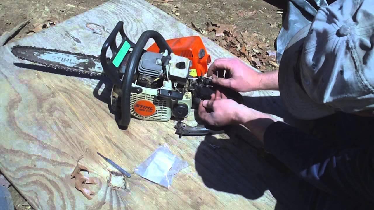 Stihl MS170 chainsaw throttle trigger repair
