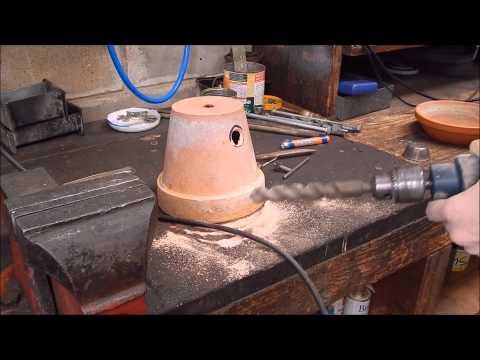 Melt aluminium in a flower pot furnace