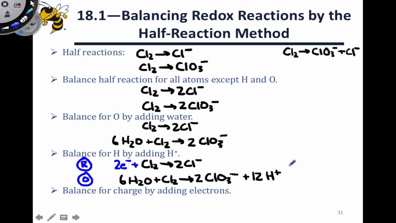 18.4 Balancing Redox Reactions - Disproportionation