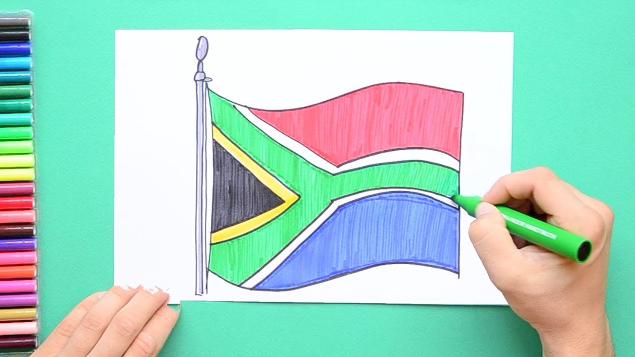How to draw and color the Flag of South Africa  YouTube