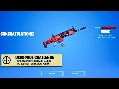 Fortnite - Find Deadpool's Big Black Marker & Deface GHOST Or SHADOW Posters! (Week 6 Challenges)