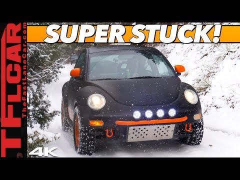 We Get Stuck IMMEDIATELY In Our Lifted Off-Road VW New Beetle Blasting Through Snow!