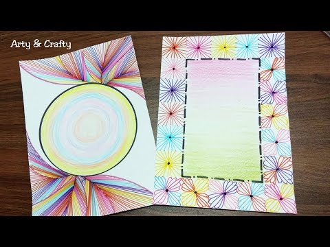 Border Design on Paper |  Colourful Border | Front Page or Project Border Design by Arty & Crafty