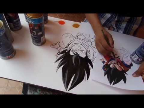 Goku spray paint art