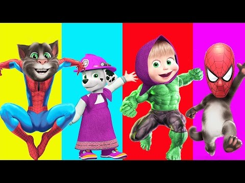 Thumbnail: Learn Colors with Wrong Heads Paw Patrol Spiderman Talking Tom and Hulk Cartoons Video For children
