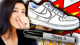WORK VLOG | MAKING THE JOSHUA VIDES CARTOON AIR FORCE 1 CUSTOM WITH A SHARPIE!?