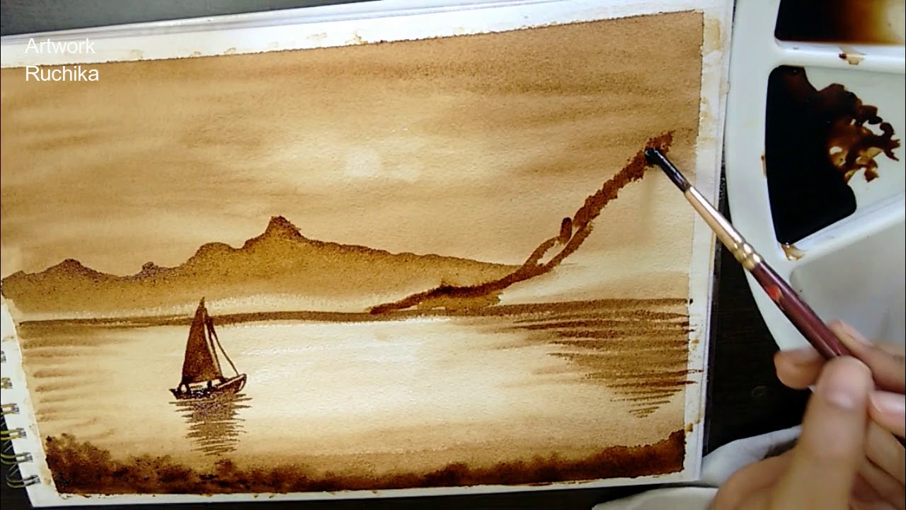 My First Coffee Painting Landscape Coffee Painting Diy Youtube