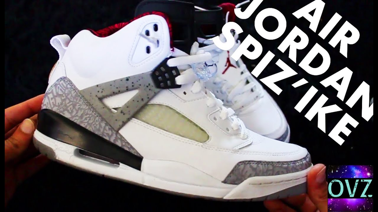 brand new 86557 46521 AIR JORDAN SPIZ IKE - ON FEET + EXTREME CLOSE-UP   White   OG Cement   Red