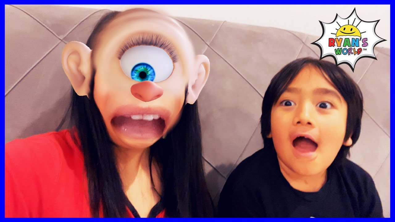 Ryan plays with Funny Face Filters with Mommy!