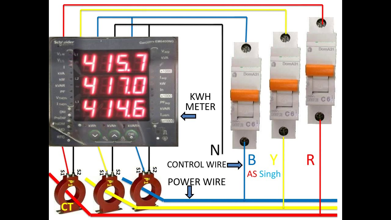Kwh Meter Wiring Diagram  Three Phase Kwh Meter Wiring  Kwh Meter Wiring With Ct