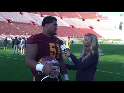 USC offensive lineman Damien Mama at USC spring practice