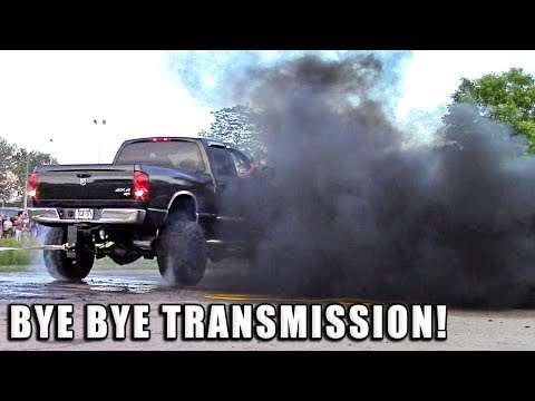 Dodge Diesel Blows Tranny During Burnout - Cummins Turbo Diesel Pickup Truck Blows Transmission