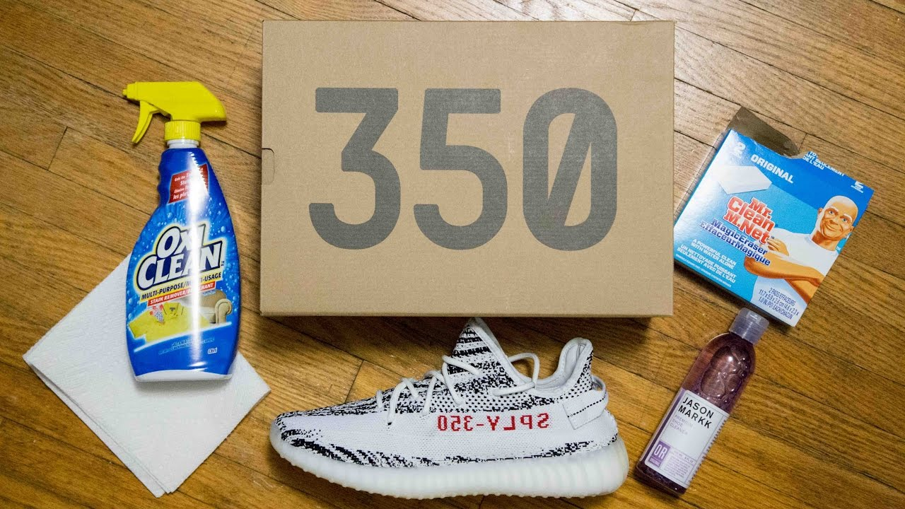 3fa44157f9803 Cleaning a stained Primeknit upper  Adidas Yeezy 350 V2 Zebra (Jason Markk