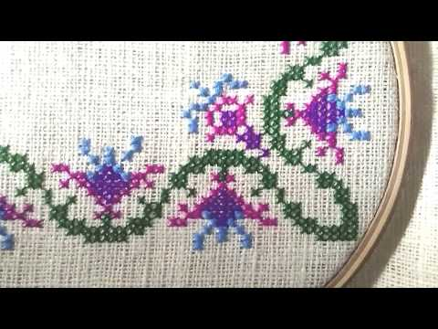 Cross stitch design corner side for pillow cover.