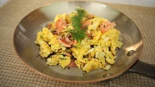 French Scramble With Smoked Salmon, Dill, Capers And Onion