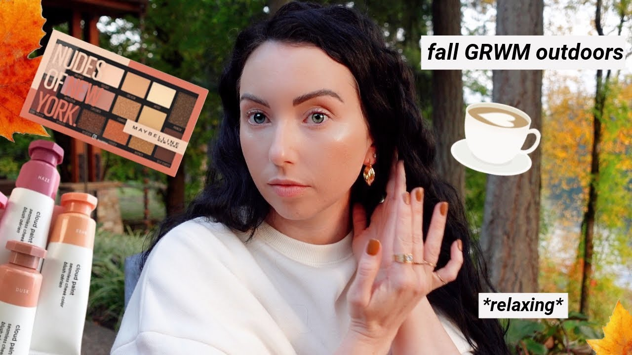 Relaxing Fall GRWM Outside in *NATURAL LIGHTING* | Shiseido, Maybelline, Glossier...