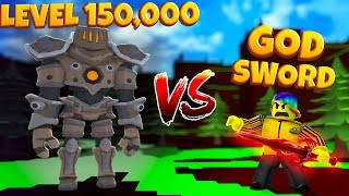 I used a GOD LEVEL ONLY WEAPON to fight a MAX LEVEL 150,000 BOSS (Roblox Slaying Simulator)