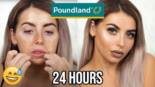 my face burns :) USING ONLY POUNDLAND BEAUTY PRODUCTS FOR 24 HOURS! TESTING POUNDLAND MAKEUP!