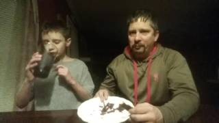 Father and Son  Eat a Whole Bag of Carolina Reaper Beef Jerky made with the World's Hottest Pepper