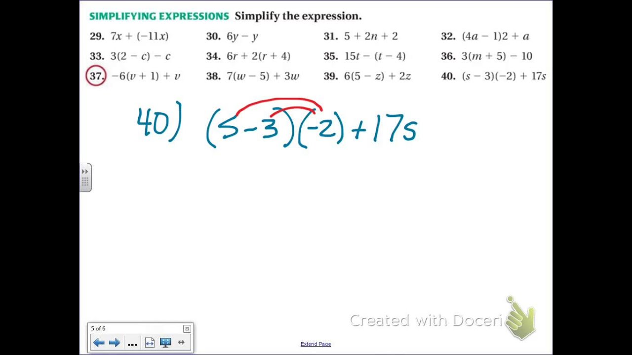 Common Core Math Simplifying Expressions With