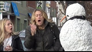 Freaky The Scary Snowman Hidden Camera Practical Joke Compilation (2017) Episode 6
