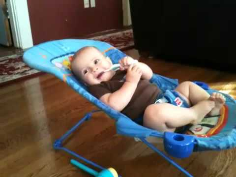 Happy Baby in a Bouncy Seat