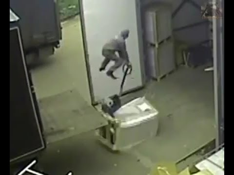 How not to unload a truck - guy flies through the air