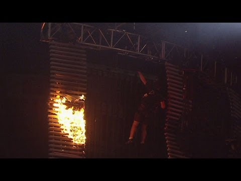 Raw Set Catches Fire Before The Show At U.S. Bank Arena: