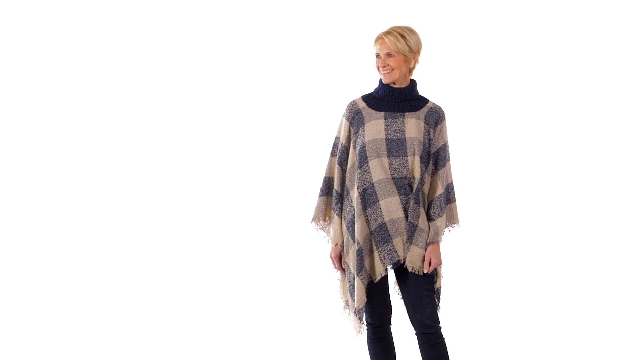 Plaid Poncho (7CWC324) from B  Boutique