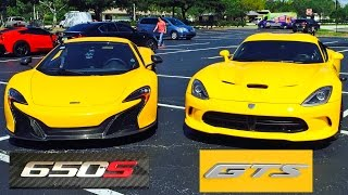 2015 McLaren 650S vs 2014 Dodge Viper GTS - 3 races, Drag Racing and Roll Racing