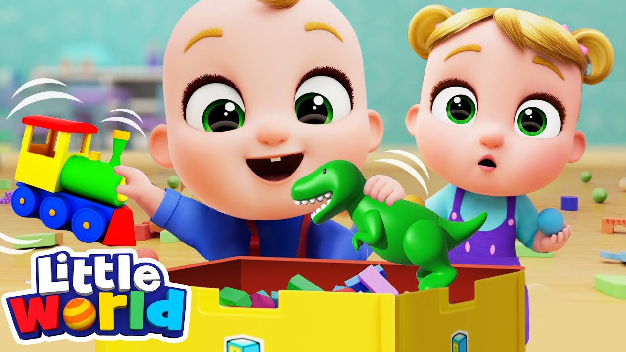 Clean Up Song With Nina And Nico  Good Habits   Little World Nursery Rhymes