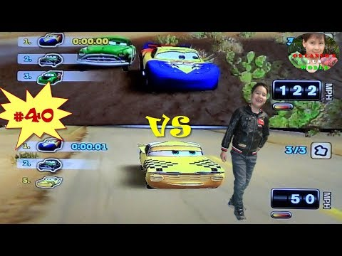 DISNEY PIXAR CARS - MATER NATIONAL - PART#40 - BLUE, YELLOW & RED MCQUEEN  VS CHECKERBOARD RAMON