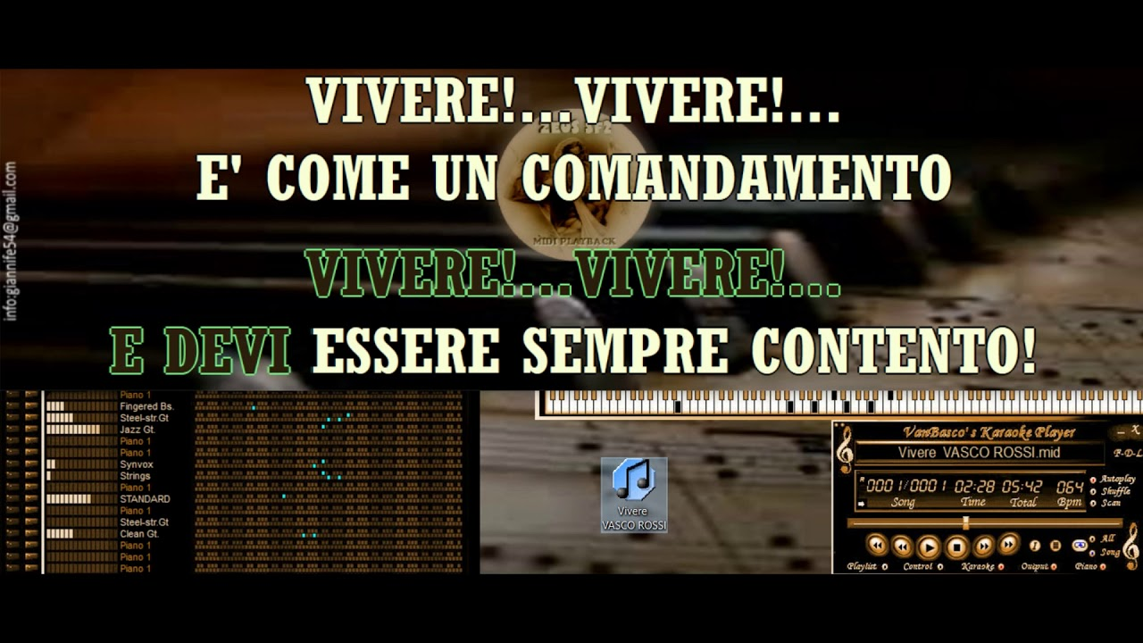 Vivere Vasco Rossi Karaoke Base Midi Zeus Sf2 2019 Youtube