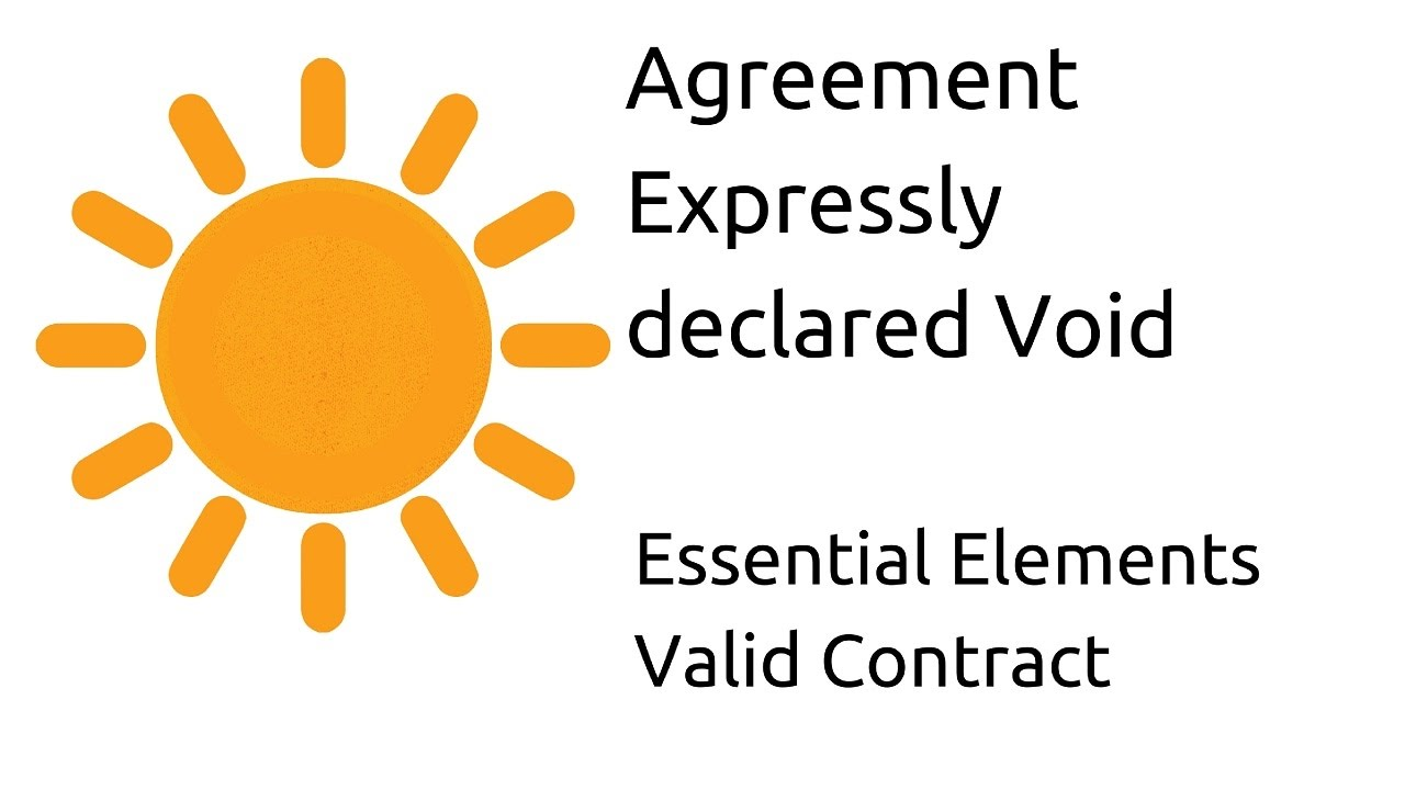 Introduction To Agreement Expressly Declared Void Other Essential